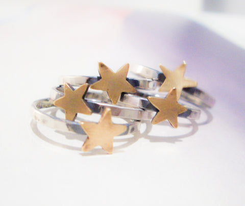 Gold Star Ring // Sterling Silver & Brass