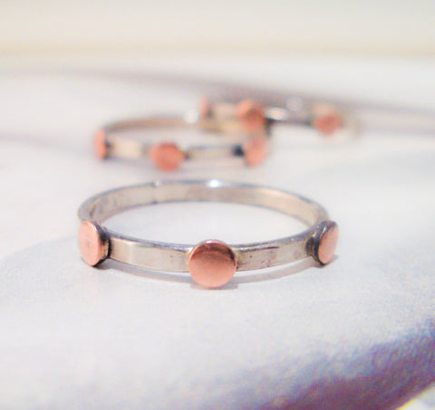 Three Copper Dots Ring