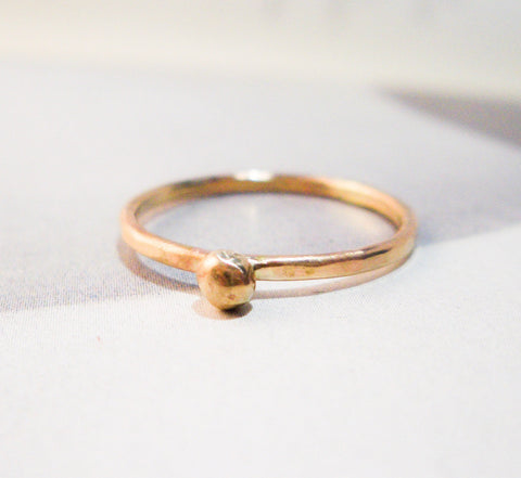Recycled Gold Drop Ring // Solid 14K Gold