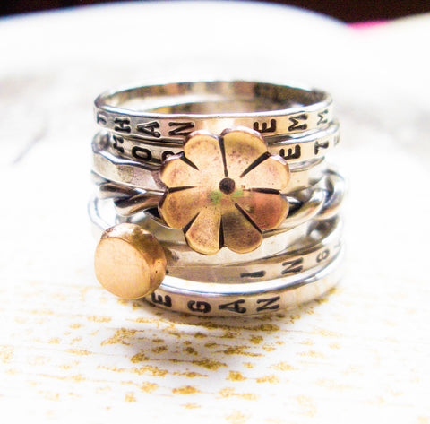 Golden Fleur Stacker Ring: Personalized Ring in Sterling Silver and Brass