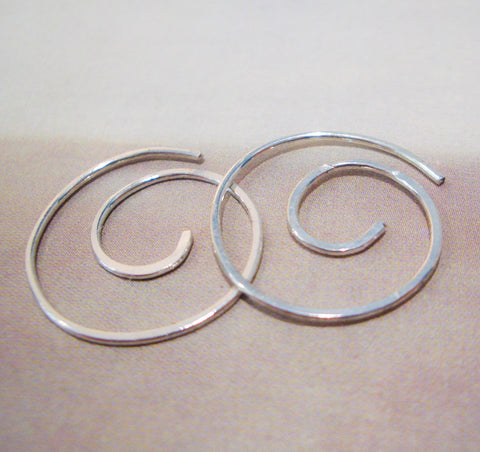 Infinite Spiral Hoops in Hammered Sterling Silver