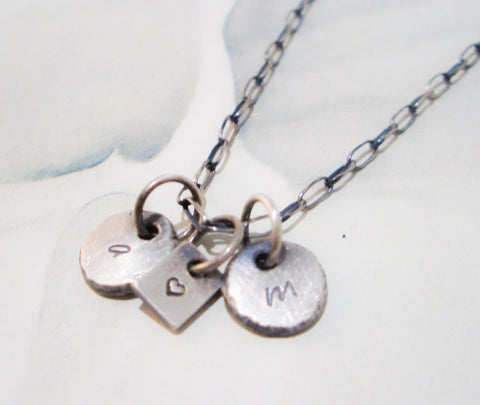 Triple Charm Necklace // Personalized in Recycled Sterling Silver