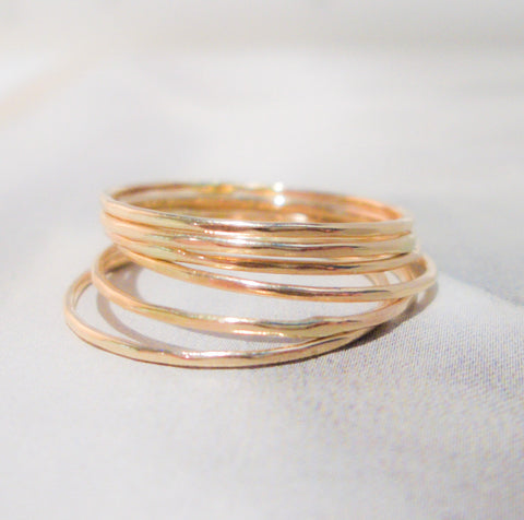 Six Petite Gold Stacking Rings // Solid 14K Gold