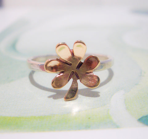 Lucky Clover Ring // Sterling Silver & Brass