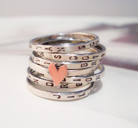 Lucky Seven in Love Seven Ring Set:  Personalized Sterling Silver Stacking Rings