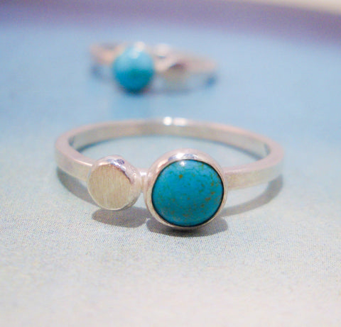 Turquoise Droplet Ring in Sterling Silver