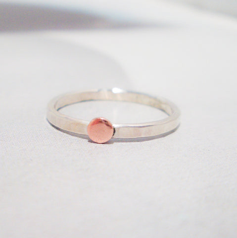 Copper Dot Ring in Sterling Silver