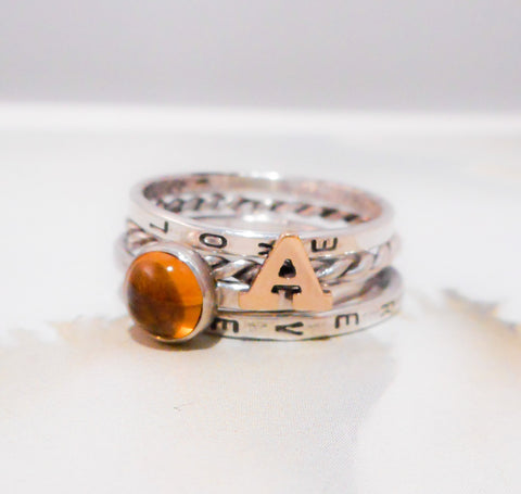 Alphabet & Yellow Citrine // Personalized Stacking Ring in Sterling Silver, 14K Gold and Yellow Citrine