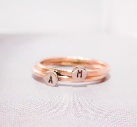 Initial Dot Ring // Solid 14K Gold // Initial Monogram Ring