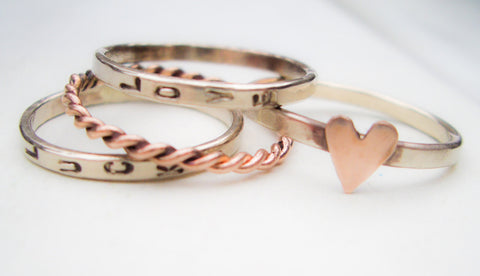 Solid 14K Gold Stacking Bands in 14K White Gold and Rose Gold //  Hand Stamped and Personalized