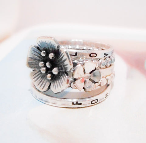 Apple Blossom Wildflower Ring Set // Personalized Stacking Ring in Sterling Silver
