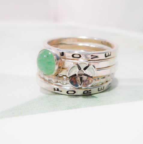 Little Wildflower Ring Set // Personalized Stacking Ring in Sterling Silver and Aventurine