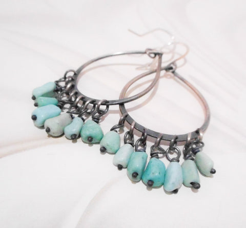 Sky Turquoise Fringed Chandelier Earrings // Sterling Silver and Turquoise