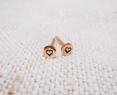 Little Sweetheart Earrings // Solid 14k Gold Heart Posts