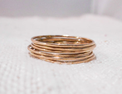Set of Six Petite Stacking RIngs // Solid 14k Gold