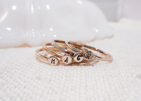 Monogram Dot Ring // Solid Gold Initial Ring