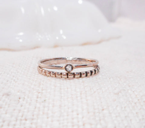 Sweetest Little Diamond Ring // Solid 14k Gold and Diamond Ring Set