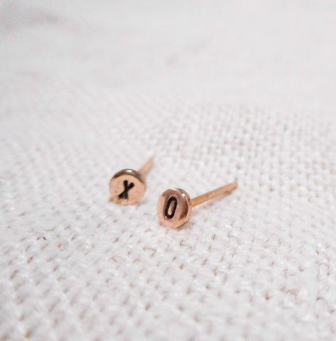 Mini XO Earrings // Solid 14k Gold Posts