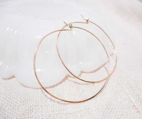 Simple Hoops // Large // Solid 14k Gold Hoops