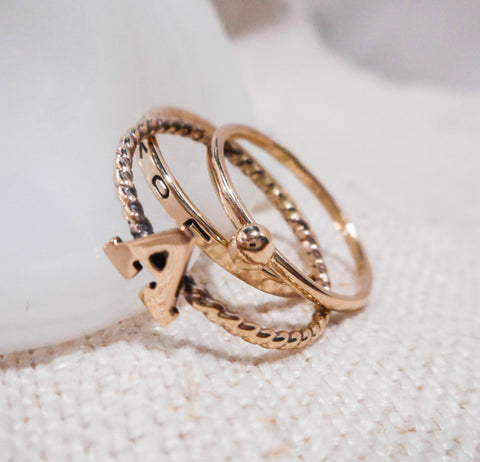 Memoirs // Custom Monogram and Hand Stamped Stacking Ring Set // Solid 14k Gold
