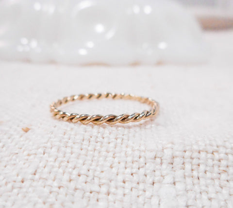 Hand Twisted Gold Ring // Solid 14k Gold