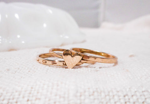 Love Is... // Custom Hand Stamped Stacking Ring Set // Solid 14k Gold