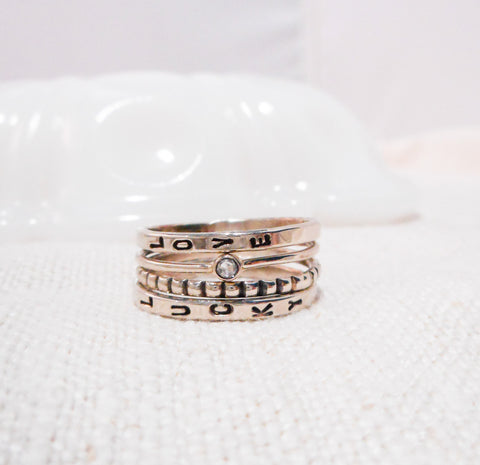 Shine Brightly Personalized Diamond Stacking Ring Set // Solid 14k Gold and Diamond