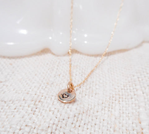 Charming Heart Necklace  // Solid 14k Gold