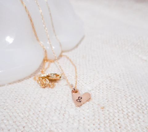 Charming Monogram Heart Necklace  // Solid 14k Gold