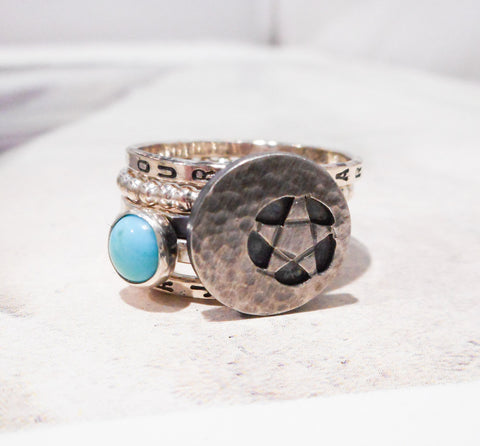Mystic Crecent Star // Personalized Stacking Ring // Sterling Silver and Turquoise