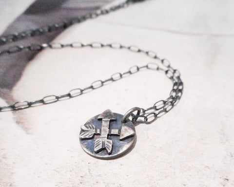 Crossed Arrows Necklace //  Sterling Silver