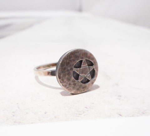 Mystic Crescent Star Ring // Sterling Silver