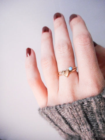 Turquoise and Gold Heart Stacking Ring Solid 14K Gold and