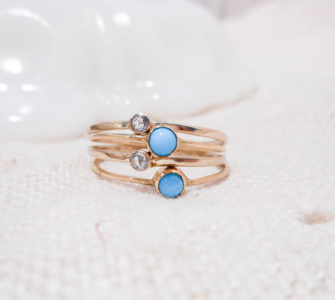 Set of Four Petite Turquoise and Diamond Stacking RIngs // Solid 14k Gold , Diamonds and Sleeping Beauty Turquiose