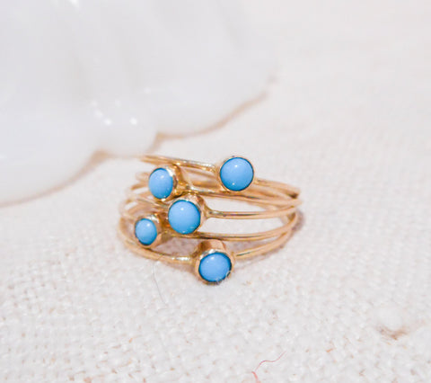 Set of Five Petite Turquoise Rings // Solid 14k Gold and Sleeping Beauty Turquiose