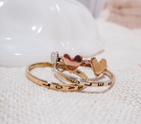 Triple Heart Ring Set  // Solid 14k Gold Hand Stamped Ring