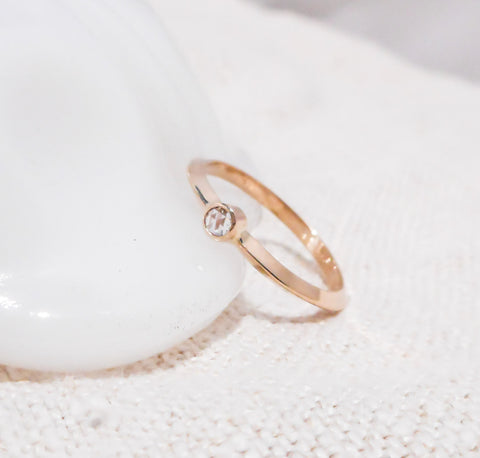 Trillion Band Diamond Ring // Solid 14k Gold and Diamond Ring Set