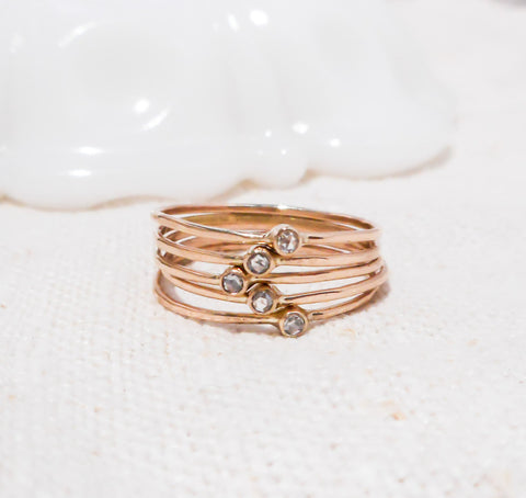 Set of Five Petite Diamond Stacking Rings // Solid 14k Gold and Rose Cut Diamonds