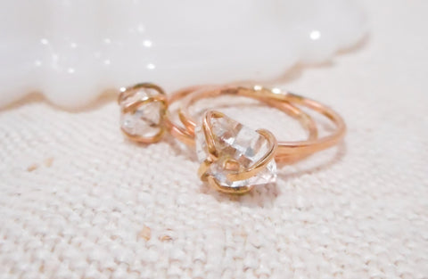 Herkimer Diamond Ring // Solid Gold and Crystal Diamond Ring