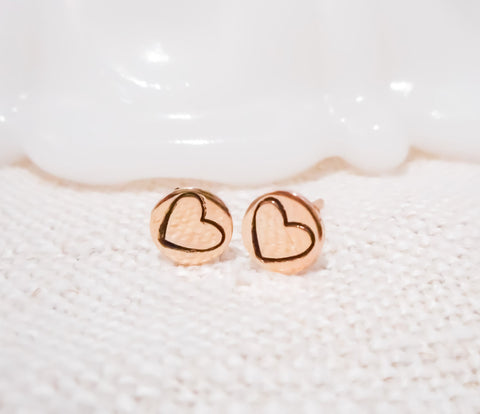 Big Sweetheart Earrings // Solid 14k Gold Posts