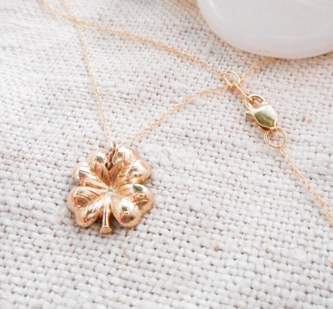 Lucky Clover Necklace  // Solid 14k Gold