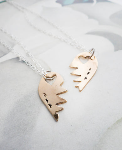 Sweet BFF Friendship Necklaces // Personalized in Sterling Silver & Brass