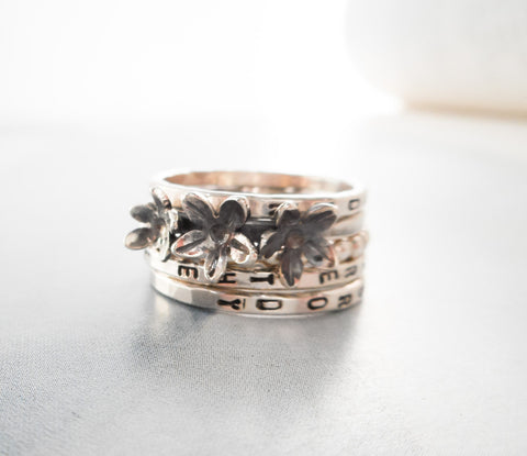Triple Wildflower Ring Set  //  Personalized in Sterling Silver