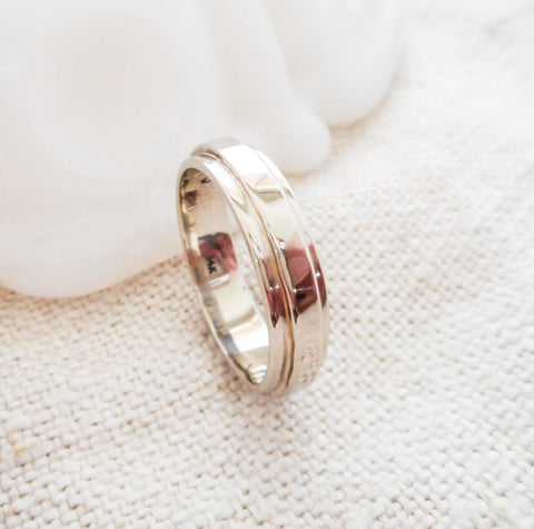 Layered Hammered Artisan Wedding Band // Solid 14k Gold