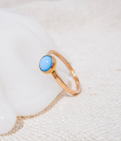 Gold and Turquoise Ring // Solid 14k Gold and Sleeping Beauty Turquiose
