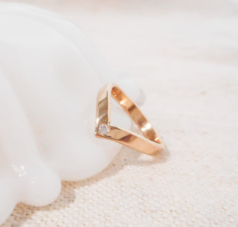 Chevron Diamond Ring // Solid 14k Gold and Diamond Ring