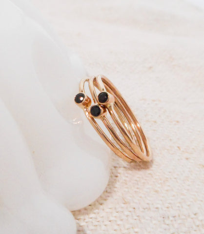 Petite Black Spinel Stacking Ring Trio // Solid 14k Gold and Natural Black Spinel