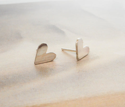 Tiny Heart Posts in Sterling Silver