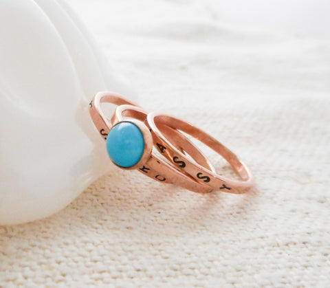 Turquoise and Gold Personalized Stacking Ring Set  //  Solid 14k Gold and Sleeping Beauty Turquiose