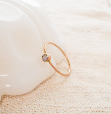 Petite Opal Ring // Solid 14k Gold and Opal